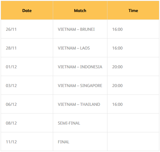 Schedule of Matchs at SEA Games 30